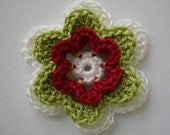 Crocheted Flower - White, Lime Green and Red - Cotton Embellishment - Crocheted Embellishment