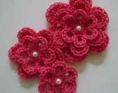 Crocheted Flowers - Hot Pink With a Pearl - Cotton - Crocheted Appliques - Crocheted Embellishments