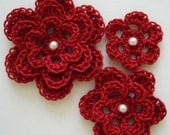 Red Crocheted Flowers - Cardinal Red With a Pearl - Cotton - Crocheted Appliques - Crocheted Embellishments