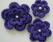 Crocheted Flowers - Violet - Pearl Accent - Cotton Flowers - Crocheted Flower Appliques - Crocheted Flower Embellishments