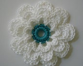 Crocheted Flower - White with Teal - Cotton - Crocheted Embellishment - Crocheted Applique