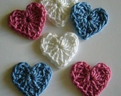 Crocheted Hearts - Blue, Rose Pink and White - Cotton - Set of 6 - Crocheted Appliques - Crocheted Embellishments