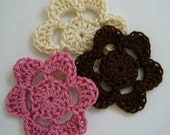 Crocheted Flowers - Ecru, Brown and Rose Pink - Crocheted Appliques - Crocheted Embellishments - Cotton