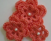 Crocheted Flowers - Coral With a Pearl - Cotton Flowers - Crocheted Flower Embellishments - Crocheted Flower Appliques