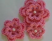 Rose Pink Crocheted Flowers With a Pearl - Cotton Flowers - Crocheted Flower Appliques - Crocheted Flower Embellishments - Set of 3