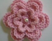 Pink Crocheted Flower with Pearl - Acrylic Yarn - Pink Crocheted Embellishment - Pink Crocheted Applique