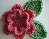 Crocheted Flower with Leaves - Rose Pink and Sage Green - Acrylic Yarn - Crocheted Appliques - Crocheted Embellishments