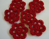 Mini Six Crocheted Flowers - Victory Red - Cotton Flower Appliques