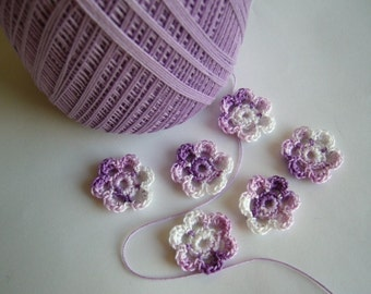 Mini Six Crocheted Flowers - Shades of Purple