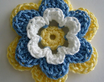 Crocheted Flower - Yellow, Blue and White - Cotton Flower - Crocheted Applique - Crocheted Embellishment