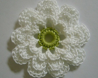 Crocheted Flower - White and Lime Green - Cotton Flower - Crocheted Flower Applique - Crocheted Flower Embellishment