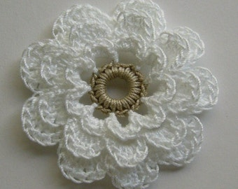 Crocheted Flower - White with a Linen Center - Cotton Flowers - Crocheted Flower Embellishment - Crocheted Flower Applique