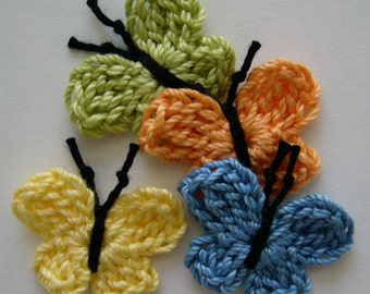 Crocheted Butterflies -  Lime Green, Tangerine, Blue and Yellow - Cotton - Crocheted Appliques - Crocheted Embellishments