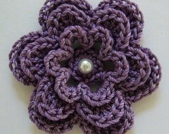 Crocheted Flower - Plum with Pearl - Cotton Flower - Crocheted Flower Applique - Crocheted Flower Embellishment