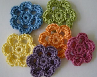 Rainbow of Crocheted Flowers - Blue, Green, Yellow, Purple, Orange and Pink - Cotton Flowers - Flower Appliques - Flower Embellishments