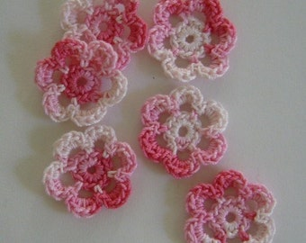 Mini Six Pink Crocheted Flowers - Shades of Pink - Cotton Flowers - Crocheted Flower Appliques - Crocheted Flower Embellishments