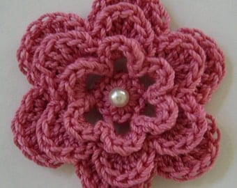 Crocheted Flower - Rose Pink with Pearl - Cotton Flower - Crocheted Flower Applique - Crocheted Flower Embellishment