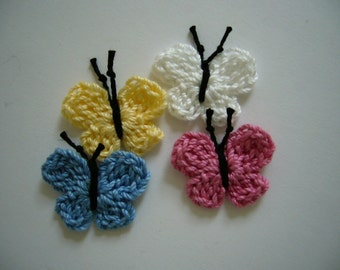 Crocheted Butterflies - Cotton - Blue, Rose, Yellow and White - Crocheted Embellishments - Crocheted Appliques