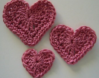 Trio of Crocheted Hearts - Pink - Cotton Hearts - Crocheted Heart Appliques - Crocheted Heart Embellishments