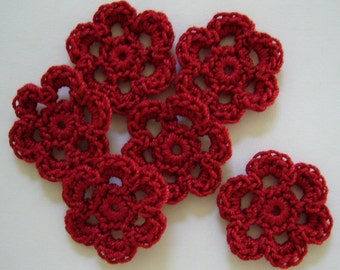Crocheted Flowers - Cardinal Red - Cotton Flowers - Cotton Flower Appliques - Cotton Flower Embellishments - Set of 6