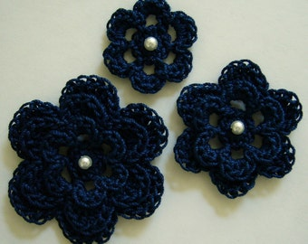 Crocheted Flowers - Navy Blue With a Pearl - Cotton - Crocheted Appliques - Crocheted Embellishments