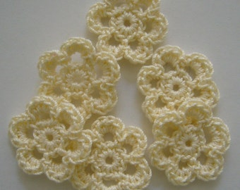 Mini Six Crocheted Flowers - Cream - Cotton Flowers - Crocheted Flower Embellishments - Crocheted Flower Appliques - Set of 6