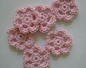 Mini Six Crocheted Flowers - Pink Flowers - Set of 6 - Cotton Flowers - Crocjeted Flower Appliques - Crocheted Flower Embellishments