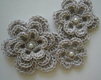 Crocheted Flowers - Silver Mist with a Pearl - Cotton Flower Appliques