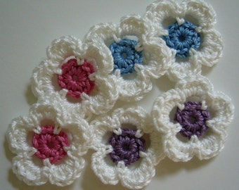 White Crocheted Flowers With Rose Pink, Blue and Plum Centers - Cotton Appliques - Set of 6