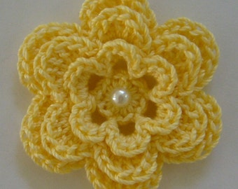 Crocheted Flower - Yellow with Pearl - Cotton Flower - Crocheted Flower Embellishment - Crocheted Flower Applique
