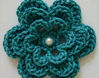 Crocheted Flower - Teal with Pearl - Cotton - Crocheted Applique - Crocheted Embellishment