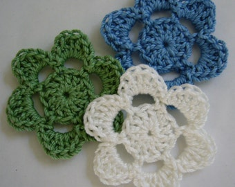 Crocheted Flowers - Sage Green, Blue and White - Cotton Flowers - Crocheted Flower Appliques - Crocheted Flower Embellishments - Set of 3