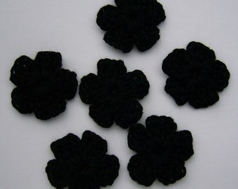 Crocheted Flowers - Black Forget-Me-Nots - Cotton