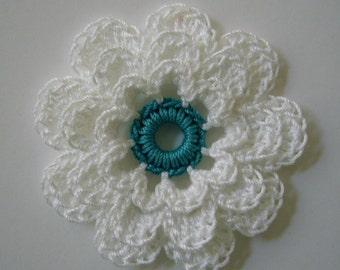 Crocheted Flower - White with Teal - Cotton Flower - Crocheted Flower Embellishment - Crocheted Flower Applique