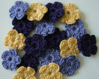 Crocheted Flowers  - Purple, Lilac and Yellow - Wool Flowers - Crocheted Flower Appliques - Crocheted Flower Embellishments - Set of 6