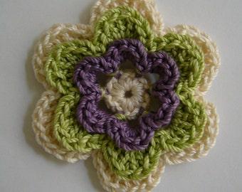 Crocheted Flower - Ecru, Lime Green and Plum - Cotton Flower - Crocheted Flower Applique - Crocheted Flower Embellishment