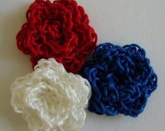 Crocheted Roses - Red, Royal Blue and White - Cotton Flower Appliques - Cotton Flower Embellishments