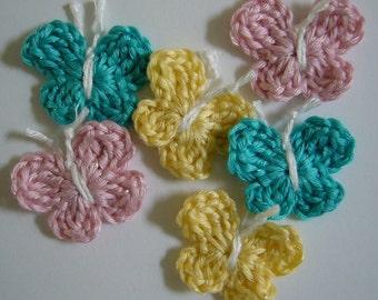 Crocheted Butterflies - Aqua, Pink and Yellow - Bamboo Blend