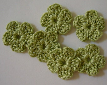 Lime Green Crocheted Flowers - Forget Me Nots - Cotton Appliques - Cotton Embellishments - Set of 6