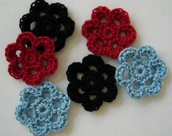 Black, Red and Blue Crocheted Flowers - Cotton Flowers - Crocheted Appliques - Crocheted Embellishments - Set of 6
