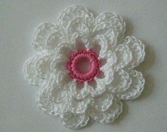Crocheted Flower - White with Rose Pink - Cotton Flower - Crocheted Flower Applique - Crocheted Flower Embellishment