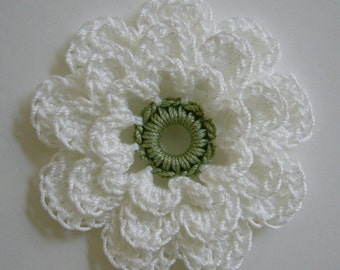 Crocheted Flower - White with Sage Green - Cotton - Crocheted Applique - Crocheted Embellishment