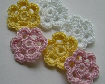 Mini Six Crocheted Flowers - White, Pink and Yellow - Cotton Flowers -  Crocheted Appliques - Crocheted Embellishments - Set of 6