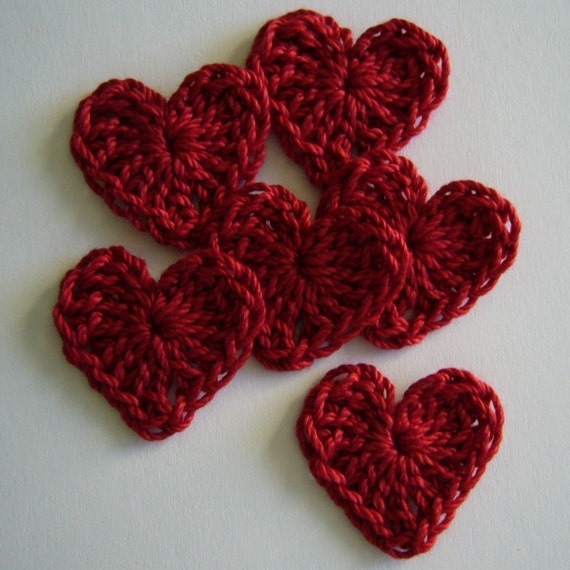 Red Crocheted Hearts - Cotton - Crocheted Appliques - Crocheted Embellishments - Set of 6