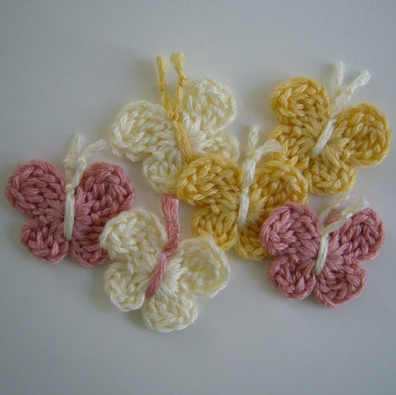 Crocheted Butterflies - Yellow, Cream and Pink - Bamboo Yarn - Set of 6 - Crocheted Appliques - Crocheted Embellishments