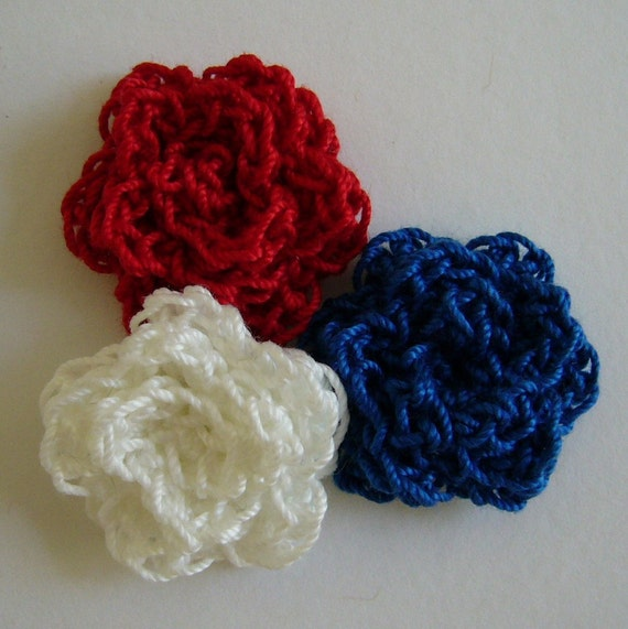 Crocheted Roses - Red, Royal Blue and White - Cotton Flower Appliques