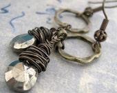 """Pyrite, Bronze Earrings in Brass """"Foolish Pleasure"""""""