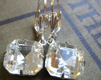 Vintage Crystal Estate Style Earrings with Sterling Silver - the Starlet -