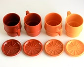 Vintage Tupperware Mugs with Coasters / Lids