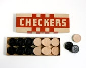 Vintage Carved Wood Checkers